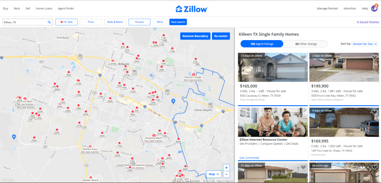 Snapshot of Killeen housing market on Zillow in early 2021