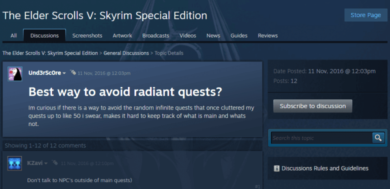 A steam user asks how to avoid Skyrim's AI-generated Radiant quests