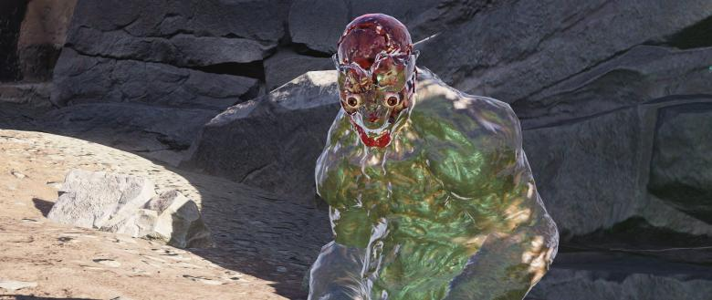 A ghoul in Fallout 76 with an exploded head