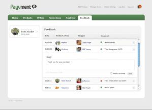 Payvment dashboard feedback management
