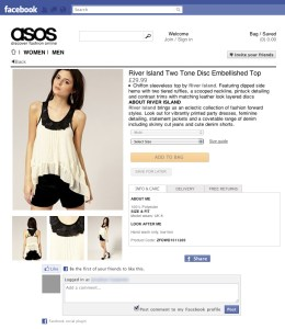 ASOS Facebook product detail page
