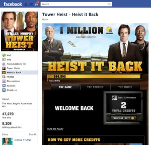 Heist It Back Facebook game promotes Tower Heist movie