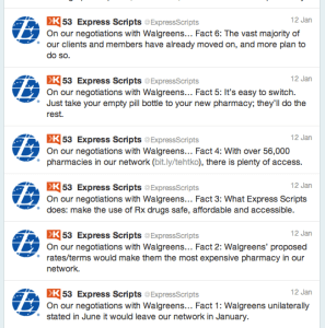 Express Scripts states its case via Twitter