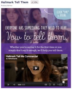Hallmark's Tell Them Facebook app
