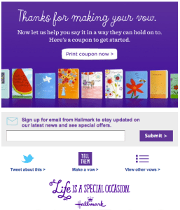 Hallmark offers discount coupon for use in stores