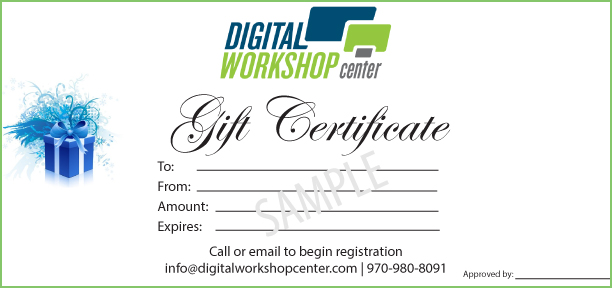 Gift certificates for technology classes - Adobe, Microsoft, WordPress, Google