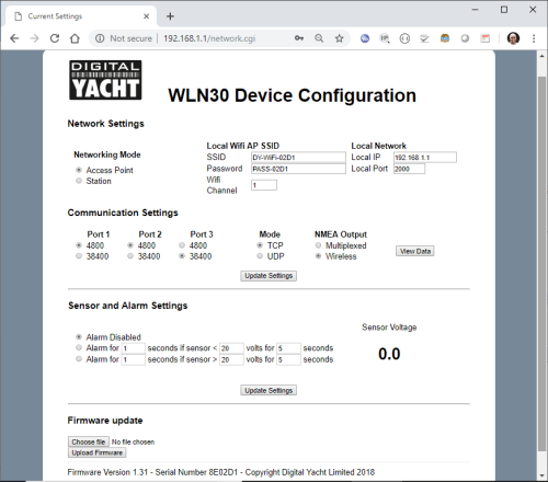 Interface web pour la configuration du WLN30