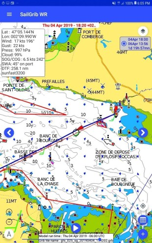 Navionics charts on SailGrib