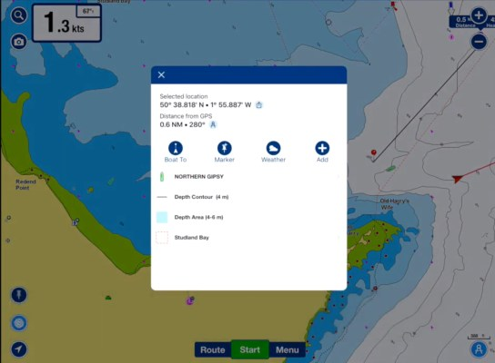 Detailed about AIS targets in Navionics