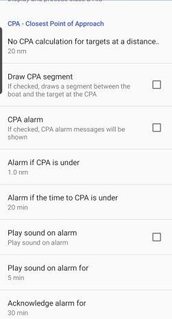 CPA and TCPA alarms in SailGrib