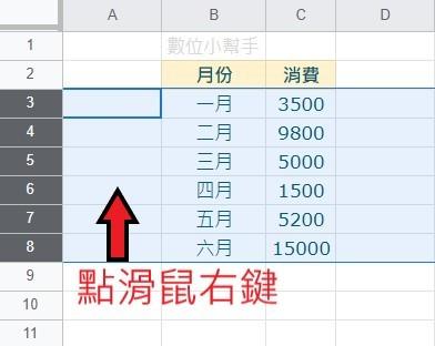 框選資料列並點擊滑鼠右鍵
