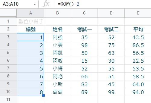 複製ROW公式到其他空白編號欄位裡