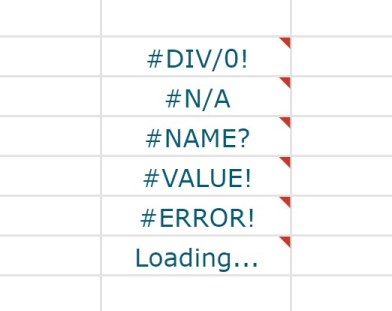 儲存格出現錯誤資訊的類型
