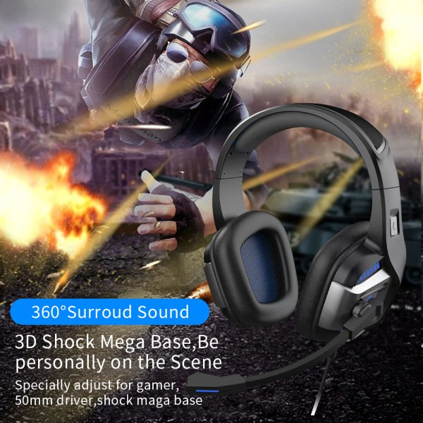 Professional Gamer Headset Led Light 3D Wired Headphone For PS4 PS5 Fifa 21 Xbox Laptop PC 3