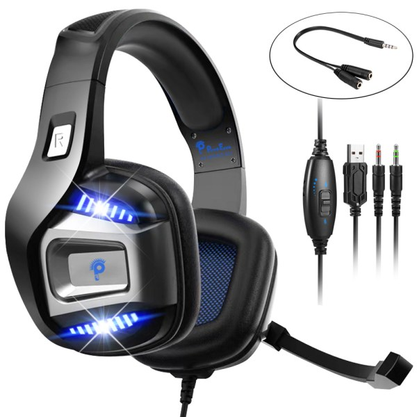 Professional Gamer Headset Led Light 3D Wired Headphone For PS4 PS5 Fifa 21 Xbox Laptop PC