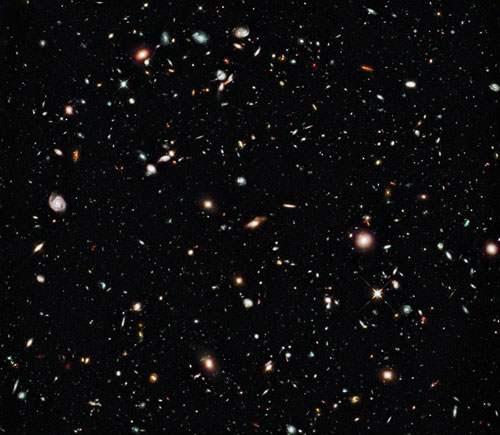 Hubble Deep field image showing biggest mysteries of science