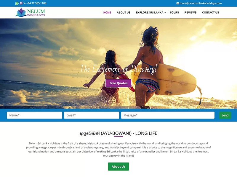 Nelum holidays and Tours project by digitecz.com