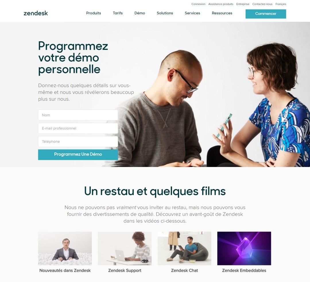 Landing page Zendesk