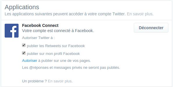 Autorisations Twitter sur Facebook