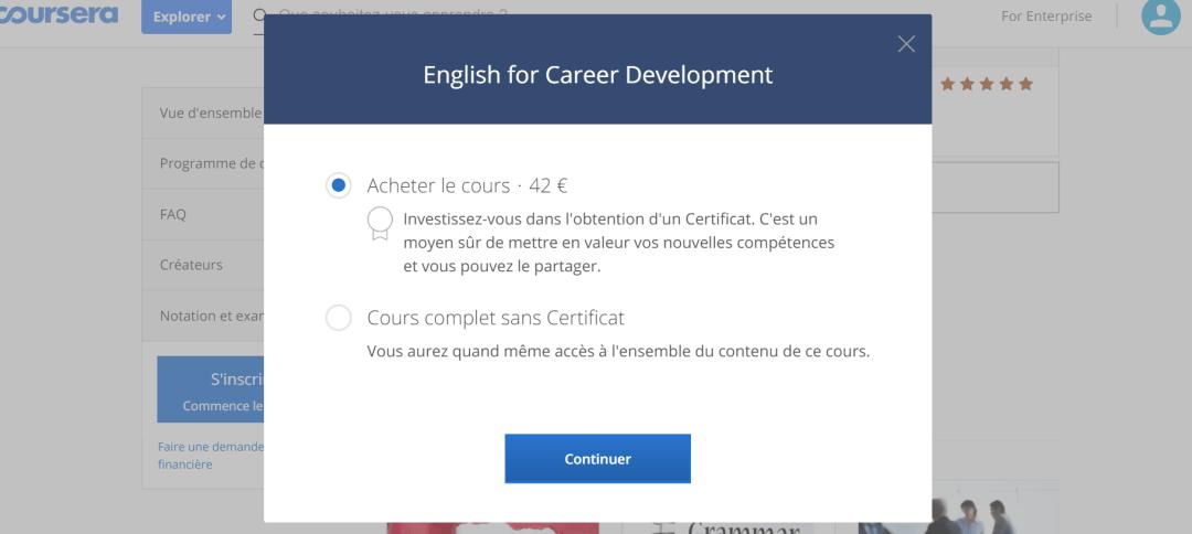 Tarifs Coursera