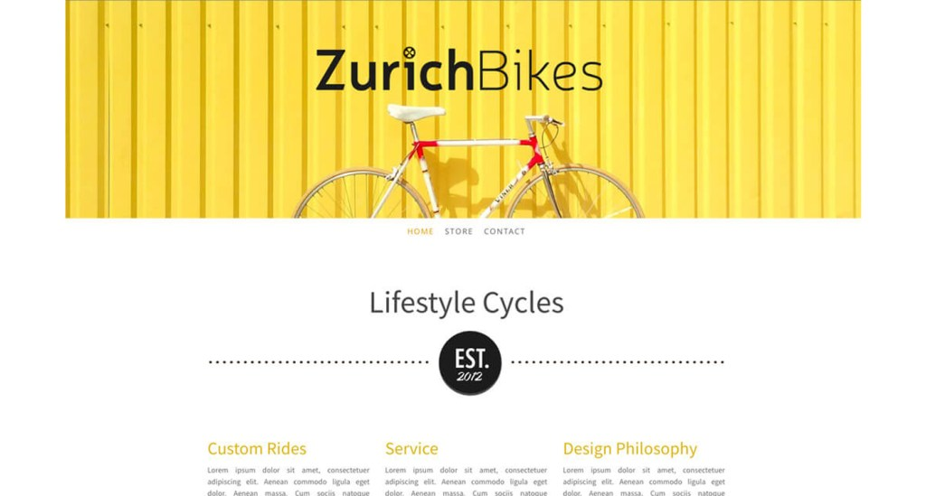 Zurich Bike exemple site Jimdo