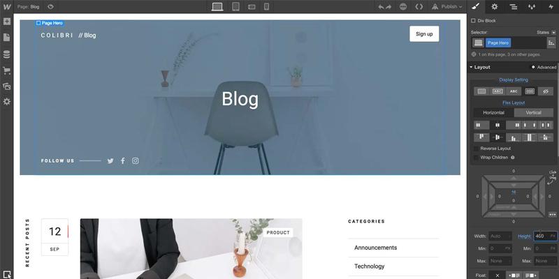 Interface du blog Webflow