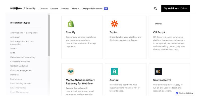 Webflow University - Liste des intégrations du Webflow