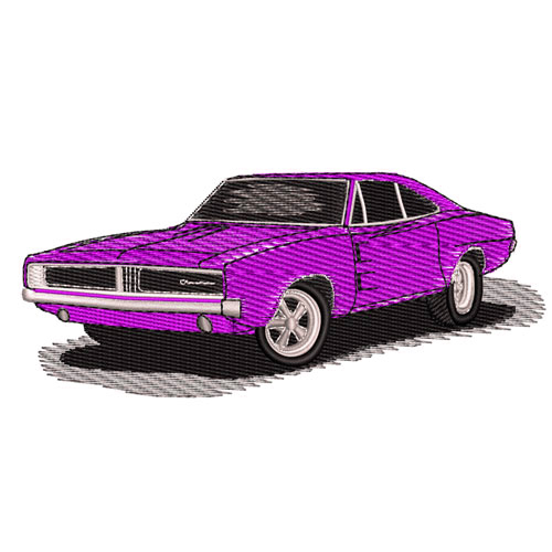 1969 Dodge Charger Embroidery Design