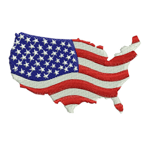 American Flag USA Map Embroidery Design