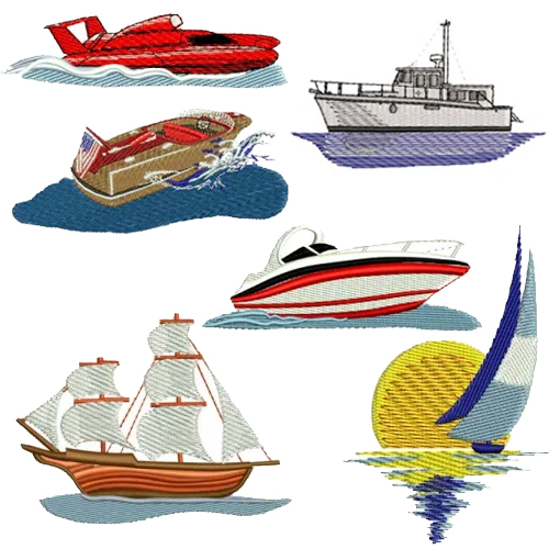 Boat Ship Embroidery Design Discount Value Pack