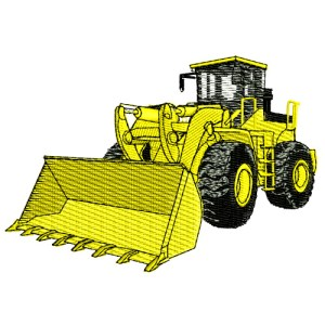 Construction Equipment Wheel Loader Embroidery Design