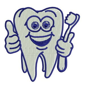 Dental DDS Happy Tooth Mascot Embroidery Design
