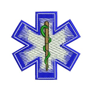 Fade EMS Star of Life SOL Symbol Embroidery Design