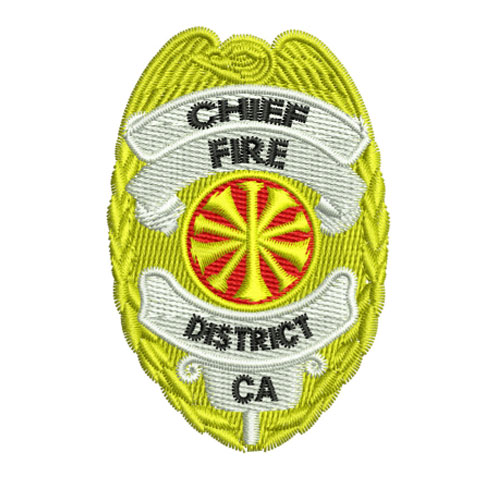 Fire Department Chief Badge Shield Embroidery Design