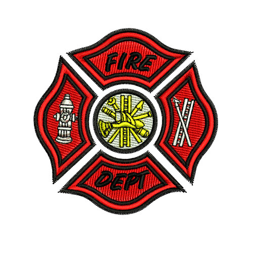 Fire Department Heraldry Shield Embroidery Design
