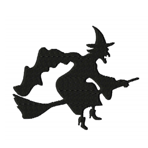 Flying Witch Silhouette 2 Embroidery Design
