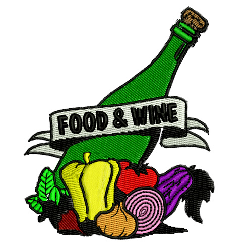 Food and Wine Embroidery Design
