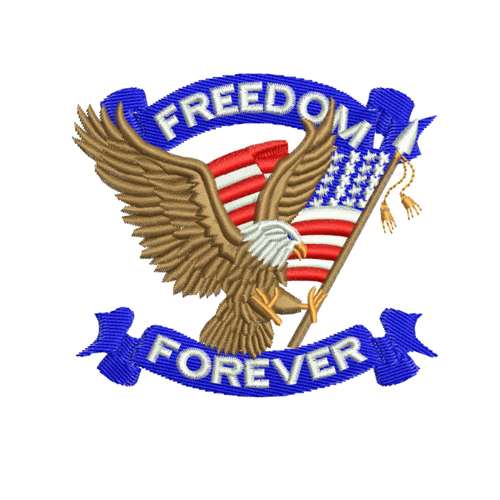 Freedom Forever Eagle American Flag Embroidery Design