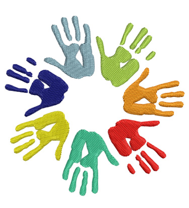 Hands of Diversity Embroidery Design