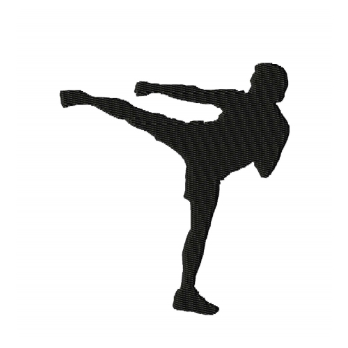Kickboxing Silhouette Embroidery Design