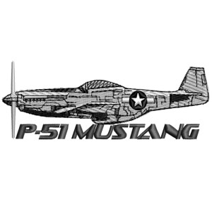 P51 P 51 Mustang Military Plane Embroidery Design