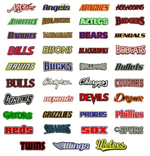 Sports Team Names Embroidery Design Discount Value Pack