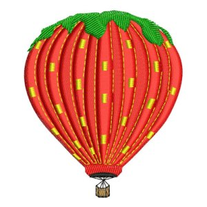 Strawberry Hot Air Balloon Embroidery Design