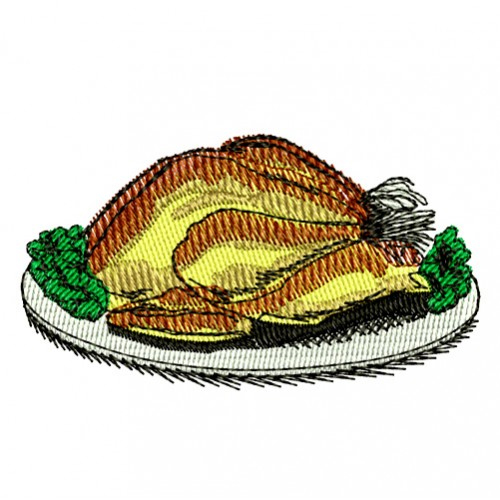 Thanksgiving Cooked Turkey Dinner Embroidery Design