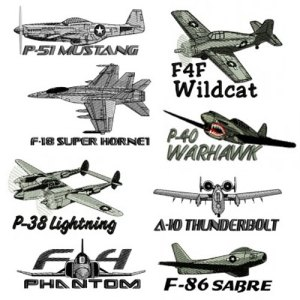 Vintage Military Plane Embroidery Design Discount Value Pack