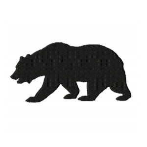 Walking Bear Silhouette Embroidery Design