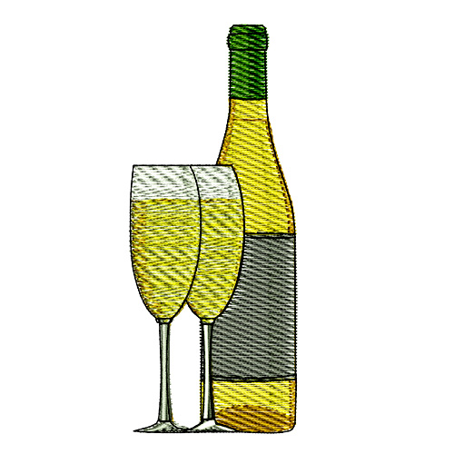 White Wine Bottle and Glasses Embroidery Design