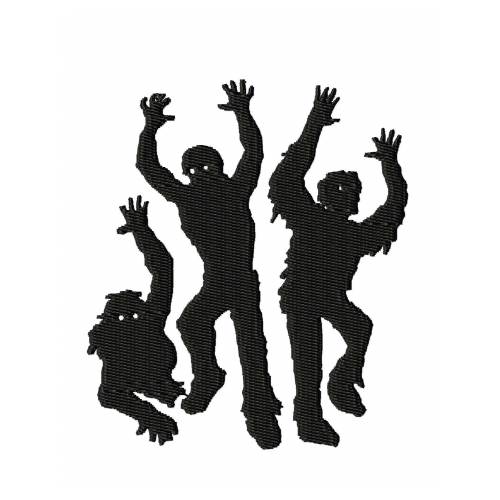 Zombies Silhouette Embroidery Design