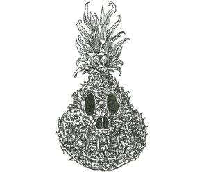 Embroidery Design: Shrunken Pineapple Outline Lg 4 94w X 9 00h