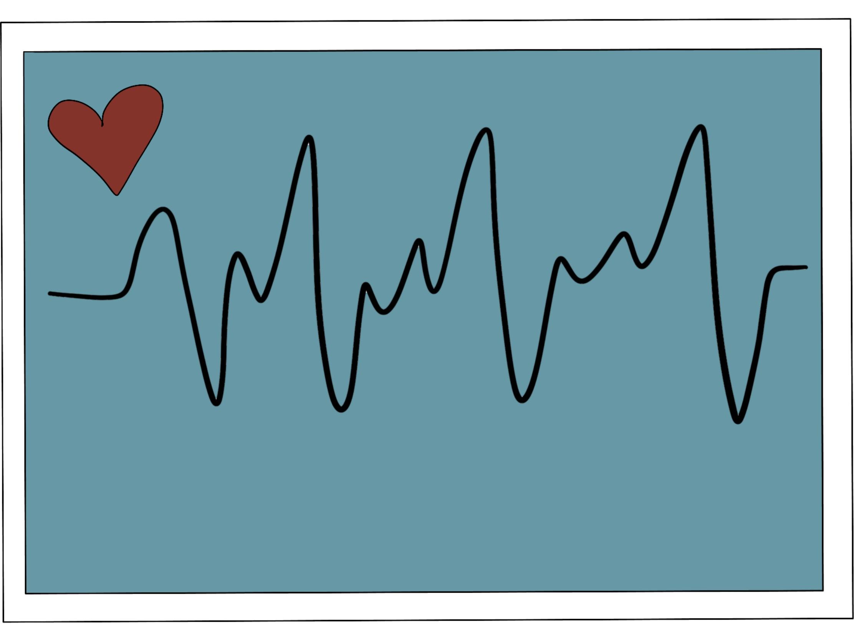 cartoon image of ecg heart scan